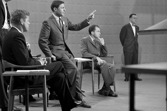 Kennedy/Nixon Debate with Don Hewitt. The first televised presidential debate between Sen. John F. Kennedy and Vice President Richard M. Nixon on 9/25/1960. Neg code 20694, frame 28. Copyright CBS Worldwide Inc. All Rights Reserved. CREDIT: CBS Photo Archive (20694_f28)